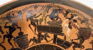 Sátiros y ménades elaborando el vino. Cerámica de figuras negras, s. IV a.C.