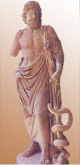 Escultura de Asclepio encontrada en el Asclepion de Epidauro. Copia romana del 160 d.C. a partir de un original del s IV a.C. Museo de Epidauro.