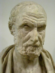 Busto de Hipócrates de Cos, copia romana del siglo II a. C. de otro griego de época helenística. Museo Pushkin de Moscú.