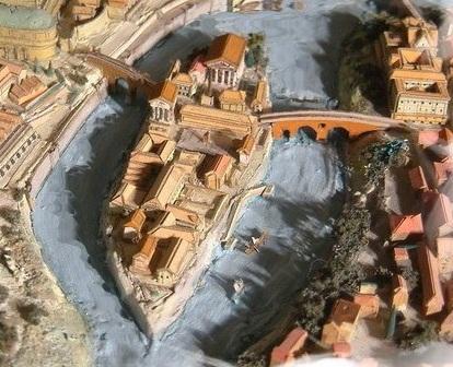 Vista aérea de la Isla Tiberina con la reconstrucción del Santuario de Esculapio. Foto: www.maquettes-historiques.net