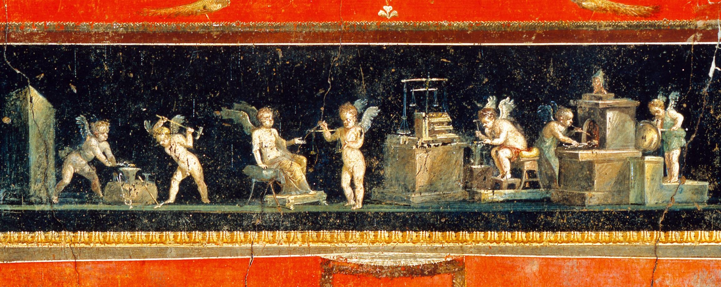 Amorcillos orfebres. Pintura al fresco de uno de los triclinios de la Casa de los Vettii, de Pompeya.