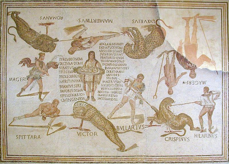 Mosaico originario de Smirat (Túnez), 240-250 d. C., Museo de Susa (Túnez). Su composición en elipse evoca la forma oval de la arena de un anfiteatro. Figuran en él cuatro bestiarios, con sus nombres, luchando cada uno con un tigre, a los que se los representa también con su nombre. Uno de ellos, Hilarius, tras matar al suyo, Luxurius, acude en ayuda de Bularius. En el centro de la composición, se ve a un joven servidor vestido con una túnica plisada, adornada con bordados, aguantando con ambas manos una bandeja, sobre la que hay cuatro bolsas, cada una de las cuales contiene 500 denarios. En la larga inscripción que figura a la derecha del citado joven, se mencionan los 500 denarios que recibirá cada bestiario por dar muerte a un leopardo, y, en la que hay a su izquierda, se insta al organizador de la venatio, Magerius, que aparece en la escena representado dos veces, a que entregue el dinero acordado con los bestiarios, elogiándose, a la vez, el espectáculo ofrecido por él, comparable a los que organizan en Roma los cuestores.