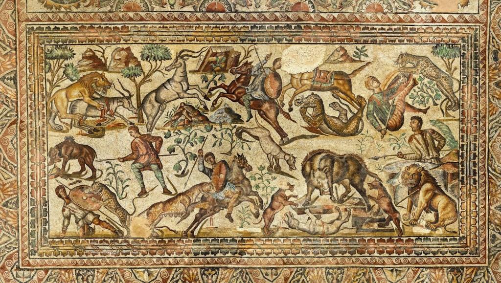Mosaico romano mostrando una venatio hallado en la villa romana de la Olmeda (Palencia) s.IV d.C.