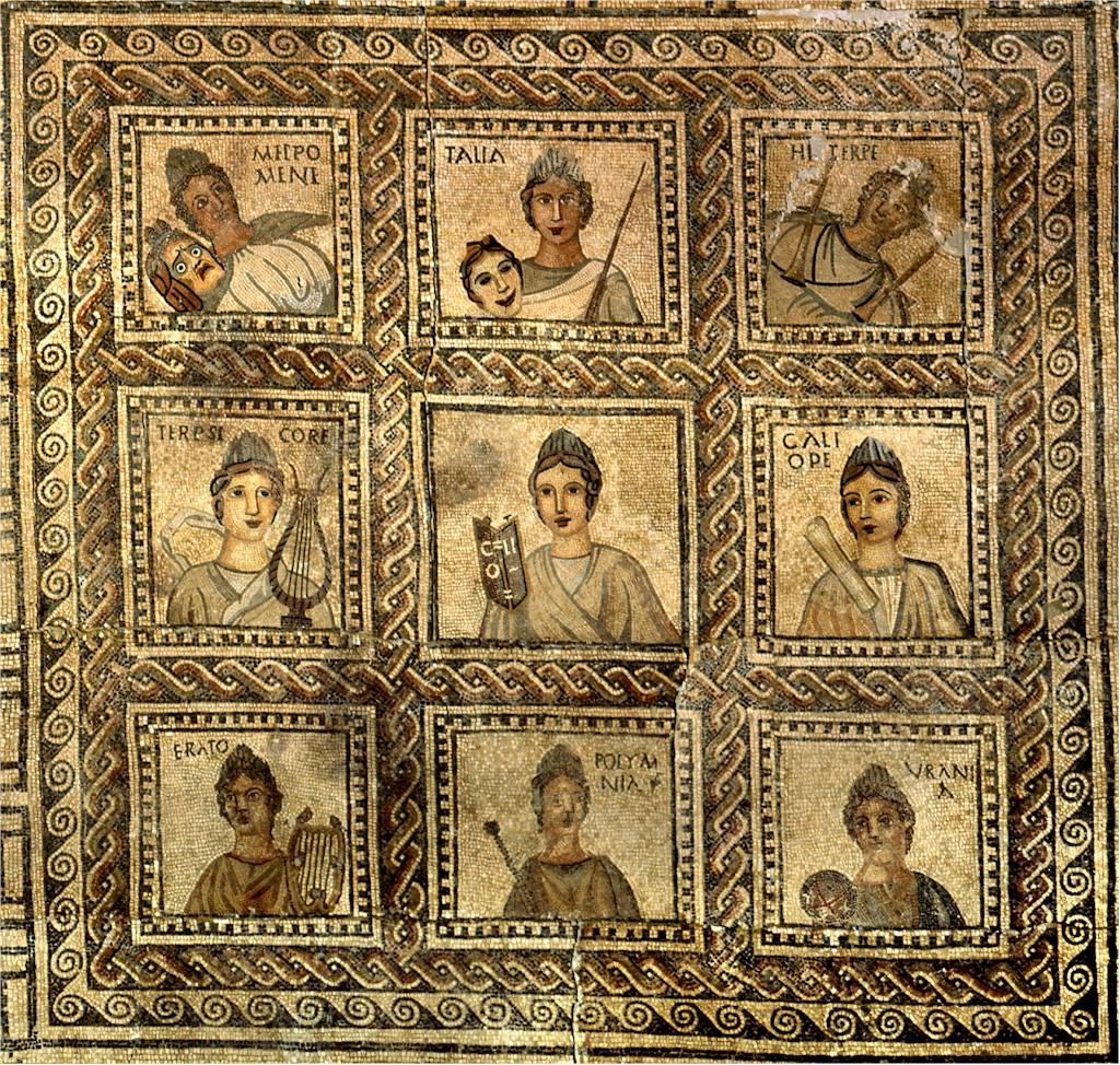 Mosaico romano de las Musas (encontrado en una villa romana en Moncada), s. III d. C. Museo de Bellas Artes de Valencia.