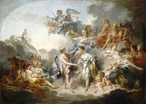 Presentación de Psique en el Olimpo, François Boucher, 1744. Museo de Bellas Arte de Rouen.