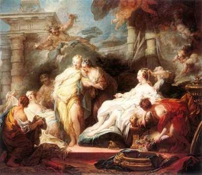 Psique enseña a sus hermanas el palacio de Cupido, Jean Honoré Fragonard, 1753. Galeria Nacional de Londres