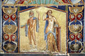 Mosaico representando a Neptuno y a Anfitrite, que decoraba, junto con otros, el triclinio de verano de la conocida como Casa de Anfitrite, en Herculano