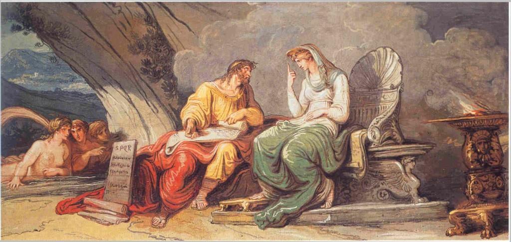La Ninfa Egeria inspira a Numa Pompilio las leyes de Roma, de Felice Giani (1806). Palacio de la Embajada de España – Sala de los Legisladores, Roma.