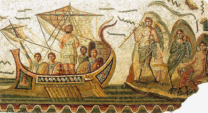 Ulises y las Sirenas. Mosaico romano. Museo del Bardo (Túnez).