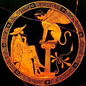 Edipo y la Esfinge, Kylix ático, 480-470 a. C. Museo Gregoriano Etrusco, Ciudad del Vaticano.