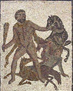 Hércules y las Yeguas de Diomedes. Detalle de un mosaico de los trabajos de Hércules de Liria (Valencia), s. III d. C. Museo Arqueológico Nacional de Madrid