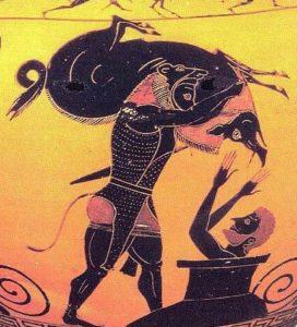 Hércules y el Jabalí de Erimanto. Ánfora ática de figuras negras, s. Vl a. C. Museo del Louvre