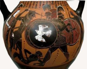 Heracles luchando contra Gerión. Figuran: Atenea, Heracles, Euritión, en el suelo, Gerión y Menetes. Ánfora de figuras griegas, 540 a. C. Museo de Munich