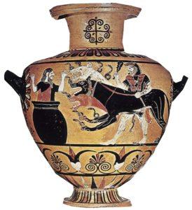 Hércules presenta Cerbero a Euristeo, quien lo recibe asustado metido en una vasija. Cerámica grecoetrusca, s. VI a.C. Museo del Louvre