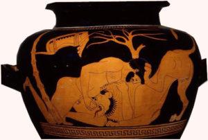 Hércules y el León de Nemea . Cerámica griega de figuras rojas, 490 a.C. Museo Universidad de Filadelfia. USA