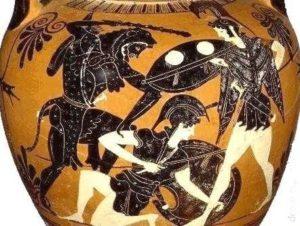 Hércules se enfrenta a las Amazonas. Ánfora ática de figuras negras, s. VI a.C. Museo de la Universidad de Mississippi, USA