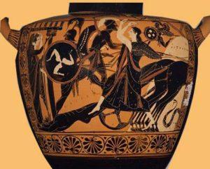 Aquiles arrastra el cadáver de Héctor. Cerámica griega de figuras negras, s. Vl a.C. Museo de Bellas Artes de Boston.