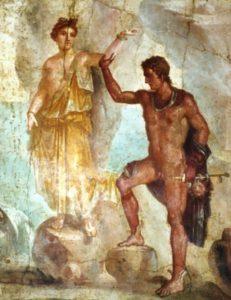 """Perseo y Andrómeda. Pintura mural de la """"Casa dei Dioscuri"""" de Pompeya. Museo Arqueológico Nacional de Nápoles."""