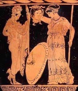 Perseo entrega a Atenea la cabeza de Medusa. Crátera griega de figuras rojas, s. IV a.C. Museo de Bellas Artes de Boston.