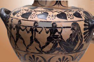 Ulises y sus compañeros cegando al cíclope Polifemo. Cerámica de figuras negras s. Vl a. C. Museo Nacional de Villa Giulia en Roma