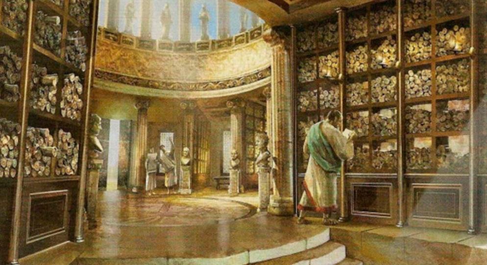Biblioteca de Alejandría. (Reconstrucción) Fuente: quonomy.com
