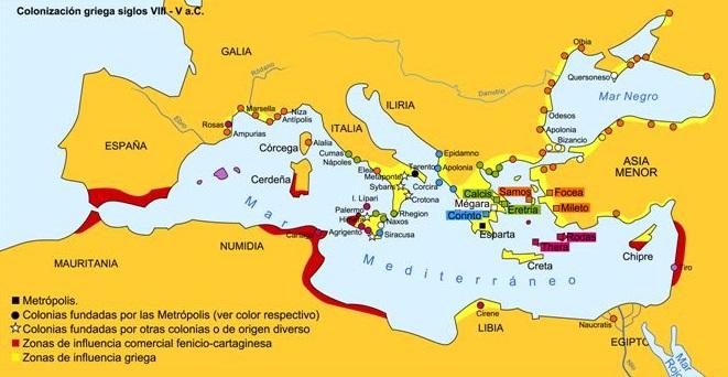 Colonización griega siglos VIII-V a.C.