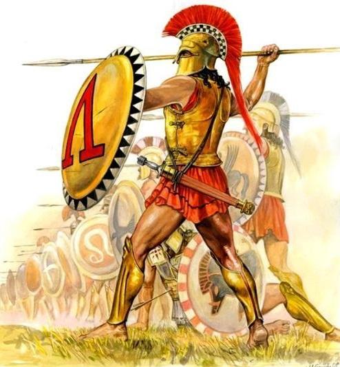 Oplitas espartanos combatiendo. La letra Λ (lambda), que figuraba en sus escudos, es la inicial, en griego, de la ciudad- Estado Λακεδαιμων (Lacedemonia), cuya capital era Esparta.