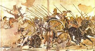 Alejandro vencedor de Darío en la batalla de Issos. Mosaico