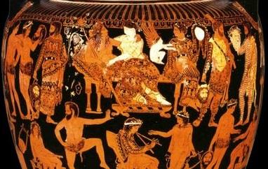 Crátera de volutas ática de figuras rojas, atribuida al Pintor de Prónomos, ca. 410-400 a. C. Museo Arqueológico Nacional de Nápoles.
