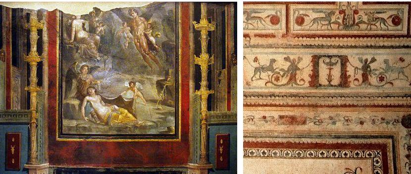 A la izquierda, Boda de Zéfiro y Cloris, Casa del Naviglio en Pompeya. Museo de Nápoles. A la derecha, Fresco de la Domus Aúrea de Nerón en Roma.